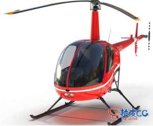 3DSMAX / C4D / MAYA高质量照片级直升机Robinson R22 Red三维模型