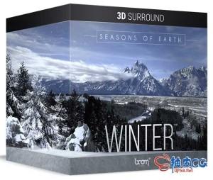 冬季氛围山涧风吼冰雪河流鸟兽鸣叫 WAV高品质无损音效素材