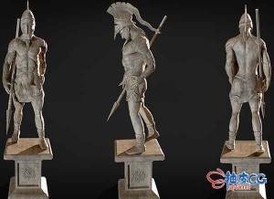3DSMAX斯巴达古代战士雕像3D模型