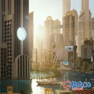 3DSMAX/ /Blender / C4D / Houdini / Unity / Maya / Unreal迪拜未来高端公共建筑城市街区3D模型