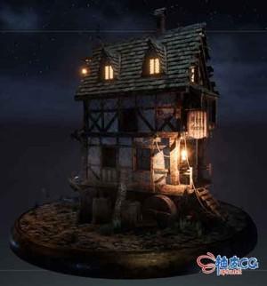 3DSMAX游戏风格小木屋3D模型