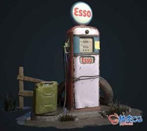 3DSMAX老式Esso气泵3D模型