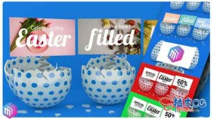 AE模板 复活节3D彩蛋快乐贺卡展示 Happy Easter Promo  Greeting Card