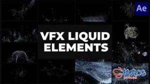 AE模板 液体水喷溅喷洒特效动画元素 VFX Liquid Pack