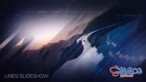 AE模板 科幻高科技优雅数字线条视差效果视频片头Lines Slideshow