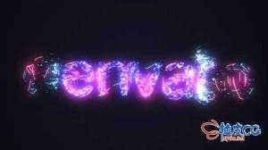 AE模板 赛博朋克能量毛刺闪烁标识LOGO揭示 Energetic Tech Logo