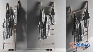 C4D / 3DSMAX木架上悬挂毛巾3D模型