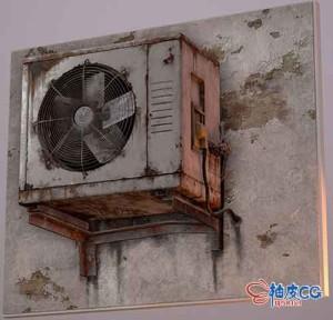 3DSMAX逼真AC单元室外空调3D模型