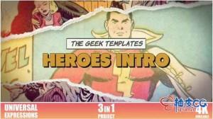 AE模板 超级英雄漫画风格揭幕视频 Heroes Intro