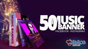 AE模板 音乐派对促销横幅视频片头 50 Music Banners