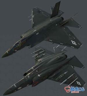 3DSMAX美制F35战斗机游戏3D模型