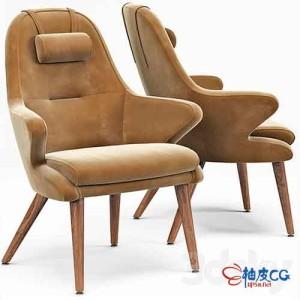 3DSMAX逼真皮质休闲椅3D模型
