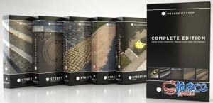 C4D / 3DSMAX / VRay城市环境街景路面绿化带草地3D模型素材合集