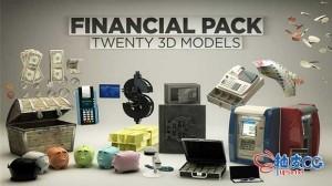 20个C4D银行财务设备美元相关设备精细3D模型