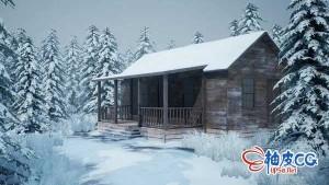 3DSMAX创建白雪皑皑的木质小屋环境视频教程
