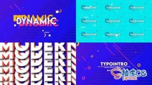 AE模板 公司创意社交动画元素开场视频 Typo Intro