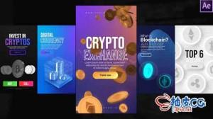 AE模板 比特币3D动画Instagram加密故事Instagram Crypto Stories