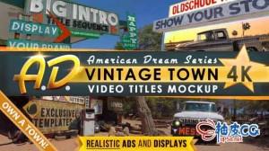 AE模板 美国乡村街景广告标题文字介绍 Vintage Route Titles Mockup Intro