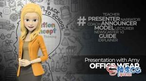AE模板 3D动画卡通风格解说播音员主持人Presentation With Amy Office Wear
