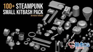 C4D蒸汽朋克机械配件Kitbash三维模型包