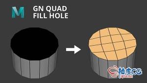 MAYA空洞四边面填补插件 GN Quad Fill Hole v4.01