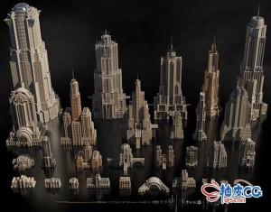 Cinema 4D / 3ds Max / Maya / Blender / Houdini / Unreal / Unity泰坦巨人城市高楼建筑大厦3D模型