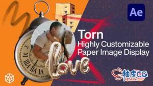 AE模板 上世纪怀旧照片杂志撕裂胶片质感介绍 Torn - Highly Customizable Paper Image Display