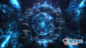 AE模板 现代网络科幻抽象区块链标识LOGO展示 Cyber Business Digital Opener