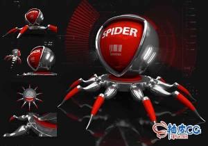 C4D / PS创建蜘蛛变形机器三维模型及效果视频教程