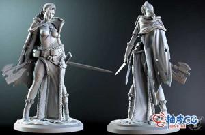 白色荒原战士冈希尔德盾牌少女3D打印模型