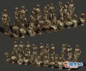 20个C4D欧洲人物全身半身雕塑3D模型
