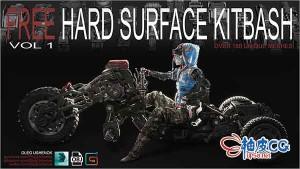 150个3DSMAX工业设备零件3D模型素材Hard Surface Kitbash vol.1
