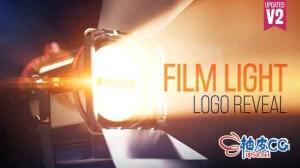 AE模板 电影播放灯光闪烁标志文字标题展示 Film Light Logo Reveal