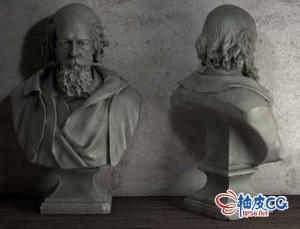 C4D英国诗人丁尼生半身石像雕塑3D模型ennyson Bust Plaster