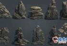 3DSMAX / fbx / obj逼真岩石3D模型