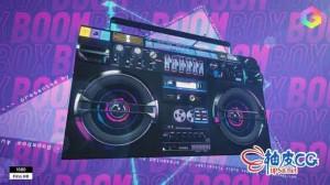AE模板 上世纪80年代迪斯高DJ摇滚音乐可视化 Boombox Music Visualizer