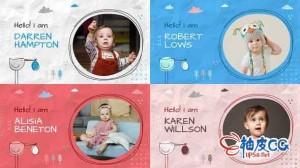 AE模板 婴儿生日快乐时光记录照片相册幻灯 Baby Album Slideshow
