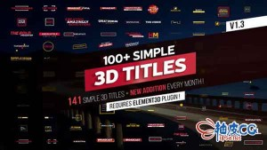 AE模板 100款简约3D文字标题动画 100plus Simple 3D Titles V1-3 folder
