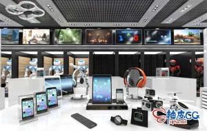 3DSMAX / VRay电脑耳机游戏机手机平板数码电子产品3D模型