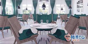 C4D / 3DSMAX / VRay / Corona餐厅桌子椅子高精度3D模型