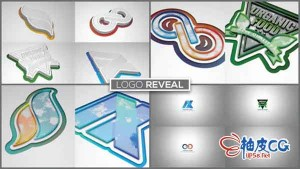 AE模板 时尚简洁多彩标识LOGO标志3D挤压 Extrusion Logo Reveal