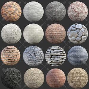 3dmax C4D KeyShot Maya红砖石砖石头墙面PBR高清无缝贴图素材库
