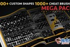 3100种Photoshop自定义形状笔刷概念艺术超级包 + 视频教程